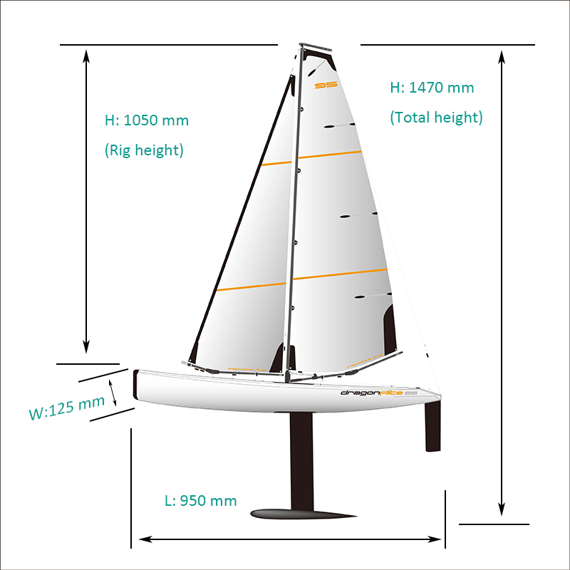 Size of Large High Speed Best Racing RC Sailboat DragonFlite95