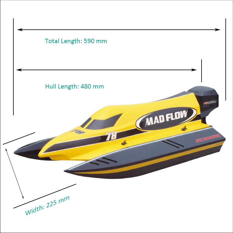 Sizes Display of New ARTR Brushless F1 Power Speed Boat Mad Flow 8653