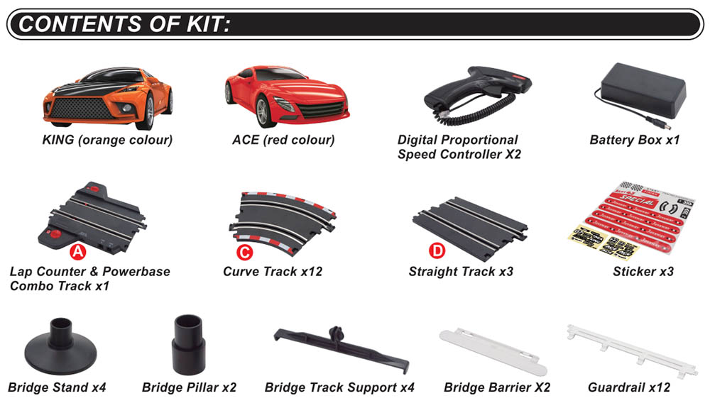 content of kit of special 101 slot car set
