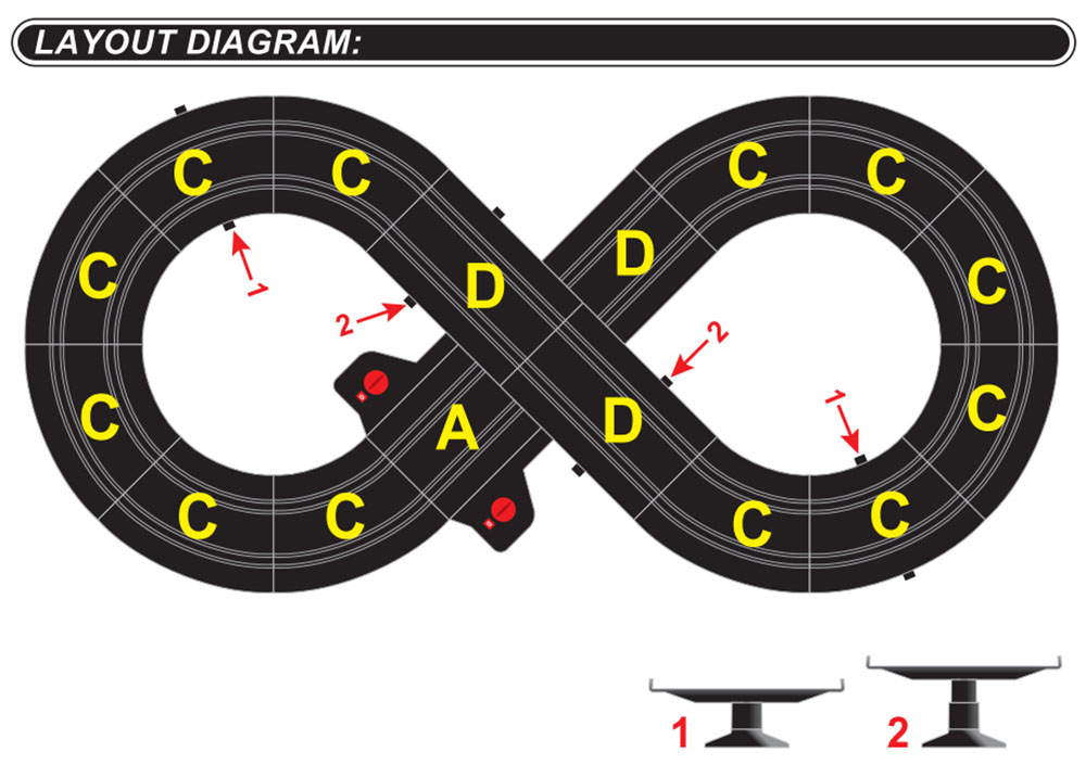 layout diagram of special 101 slot car set