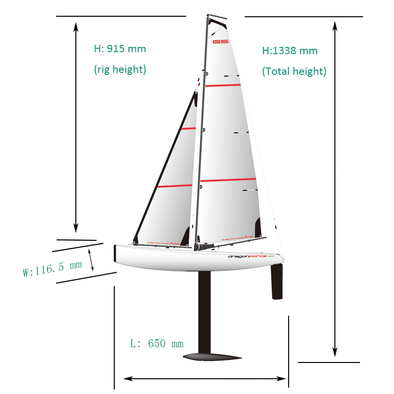 Size of Big Fast Racing RC Sailing boat for Adults Joysway DragonForce65 8815