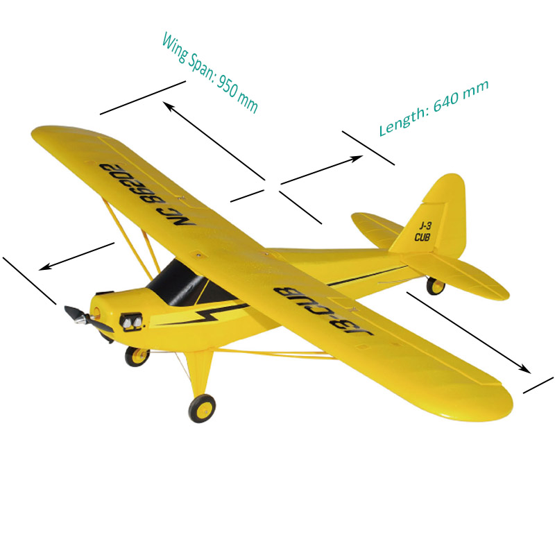 Size of RC Brushless Power Trainer Aeroplane J3-Cub 6202