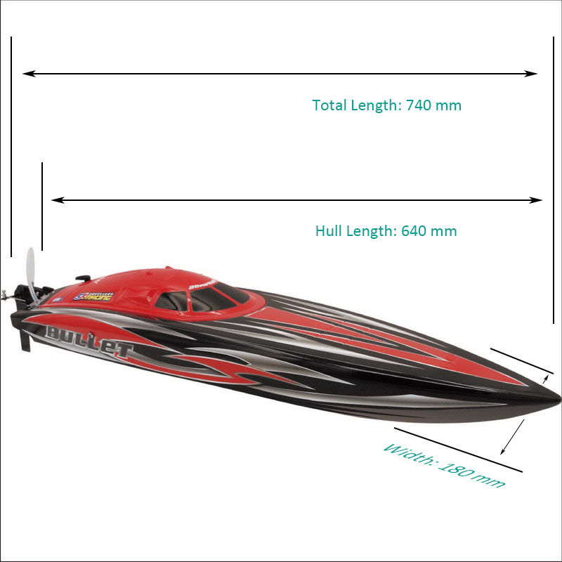 Sizes Display of Big Brushless Power Speed Boat for Sale Bullet 8301