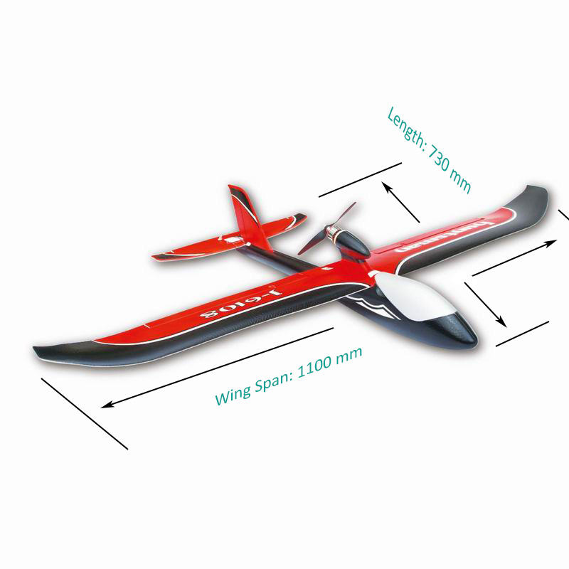 Size Display of Best Electric RC RTF Glider Airplane Huntsman 6108