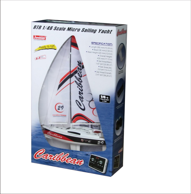 Color Box of Micro Toy RC Sailing Yacht kit for Kids Joysway Caribbean 8802