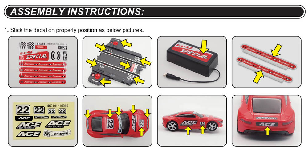 assembly instruction1 of special 101 slot car set