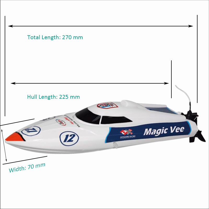 Size Display of Little Remote Control Speed Boat Magic Vee 8106